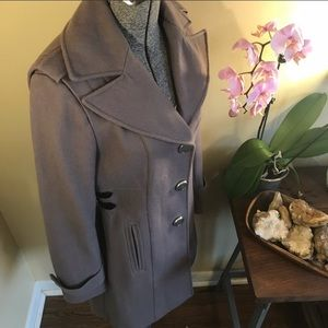 Kenneth Cole Side Buckle Wool Blend Trench Coat